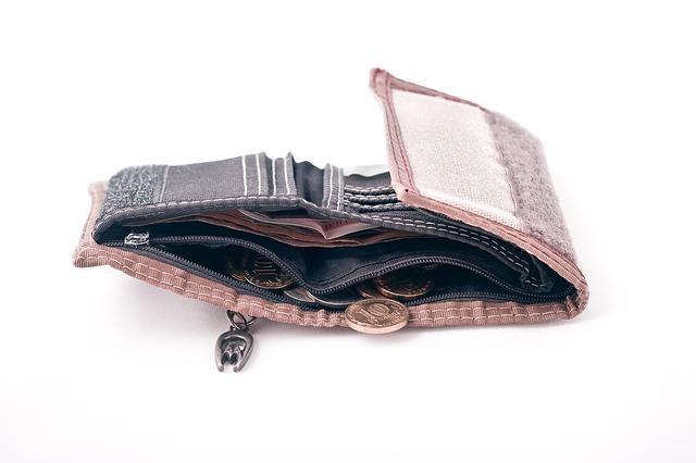 peněženka, téměř prázdná